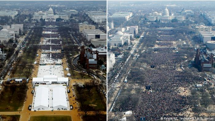 Two aerial shots, one from Barack Obama's inauguration, one from Donald Trump's (Reuters/L. Jackson (L) & S. Varias)
