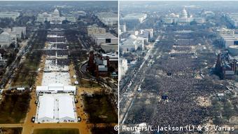 Inaugurarea mandatului lui Trump (2017) comparativ cu inagurarea adminstraţiei Obama (2009)