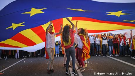People under Catalonian flag (Getty Images/J. J. Mitchell)