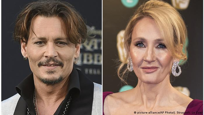 Johnny Depp and JK Rowling (picture-alliance/AP Photo/J. Strauss/V. Le Caer)