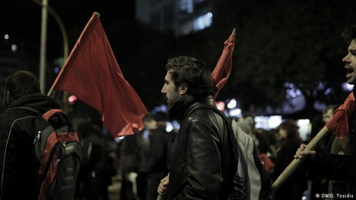 Serhat marches in a protest in Thessaloniki