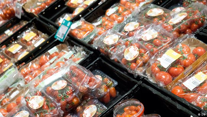 Tomatoes in plastic packaging