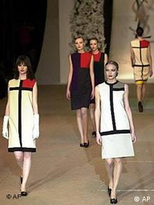 Models sport YSL dresses inspired by painter Piet Mondrian