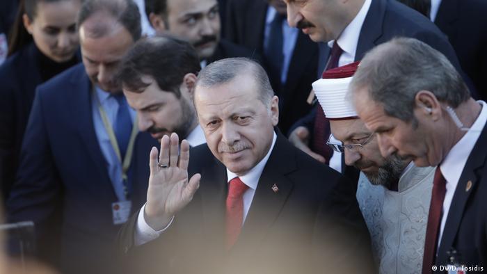 Turkish President Recep Tayyip Erdogan during his visit to the Muslim minority in Komotini, Greece