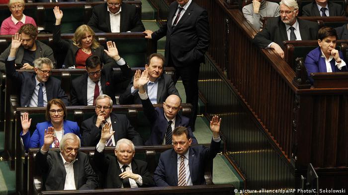 Polen Verabschiedung eines Gesetz über den Obersten Gerichtshof (Justizreform) (picture alliance/dpa/AP Photo/C. Sokolowski)