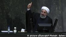 10.12.2017 *** Iranian President Hassan Rouhani speaks while submitting his next year's budget bill in an open session of parliament in Tehran, Iran, Sunday, Dec. 10, 2017. Rouhani said Sunday Iran is ready to restore ties with Saudi Arabia if it stops bombing Yemen and cuts its alleged ties with Israel. (AP Photo/Vahid Salemi) |