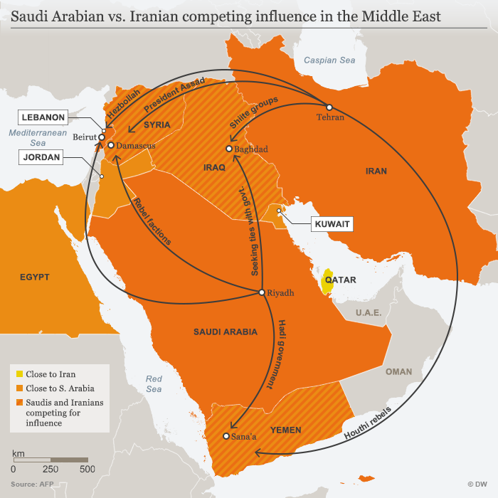 Infografik Saudi Arabian vs. Iranian competing influence in the Middle East ENG