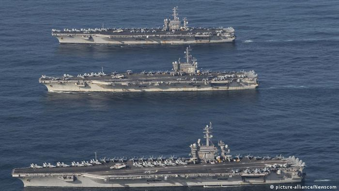 The aircraft carriers USS Ronald Reagan (CVN 76), USS Theodore Roosevelt (CVN 71) and USS Nimitz (CVN 68) and their strike groups are underway, conducting operations (picture-alliance/Newscom)