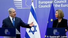 Israeli premier, Benjamin Netanyahu, speaks at a press conference with the EU's top diplomat, Federica Mogherini