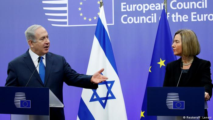 Israeli PM Netanyahu and EU foreign policy chief Federica Mogherini at the European Council in Brussels