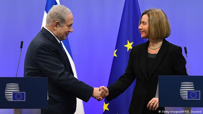 EU foreign policy chief, Federica Mogherini and Israel's Prime Minister Benjamin Netanyahu