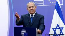 11.12.2017 Israel's Prime Minister Benjamin Netanyahu briefs the media next to European Union foreign policy chief Federica Mogherini (unseen) at the European Council in Brussels, Belgium December 11, 2017. REUTERS/Francois Lenoir