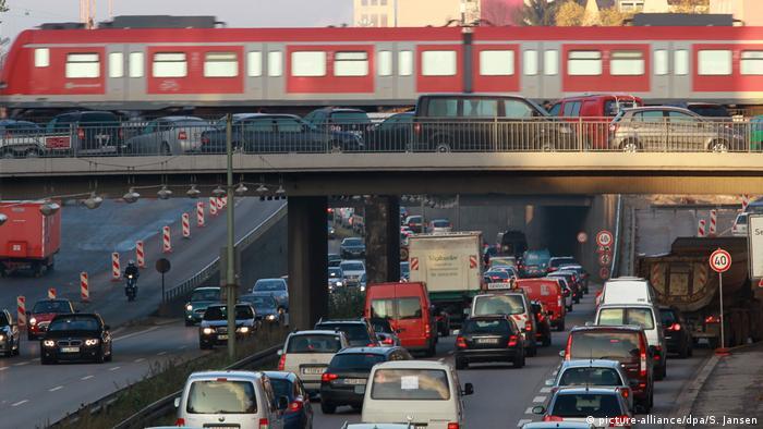 Traffic jams and train bridge