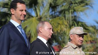 Асад, Путін і Шойгу на авіабазі Хмеймім у Сирії, 11 грудня 2017
