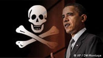 President Obama with a pirate symbol