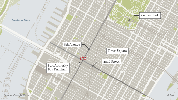 Map of mid-town Manhattan shows location where bomb went off.