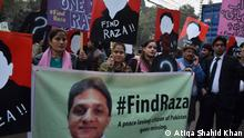 Pakistan civil society activists protest against peace campaigner Raza Khan's alleged abduction (Atiqa Shahid Khan)