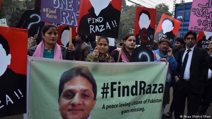 Pakistan civil society activists protest against peace campaigner Raza Khan's alleged abduction
