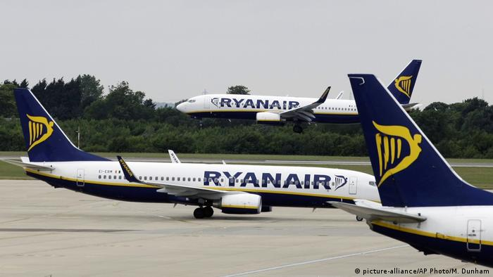 Ryanair planes at Stansted airport