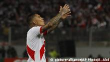 Peru's Paolo Guerrero celebrates after scoring against Colombia during a 2018 World Cup qualifying soccer match in Lima, Peru, Tuesday, Oct. 10, 2017.(AP Photo/Rodrigo Abd) |