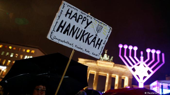 Happy Hanukkah poster in Berlin