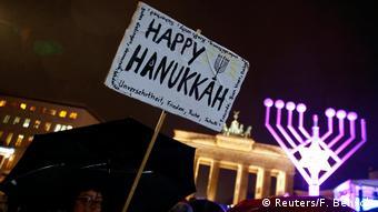 Deutschland Chanukkah Fest Brandenburger Tor in Berlin