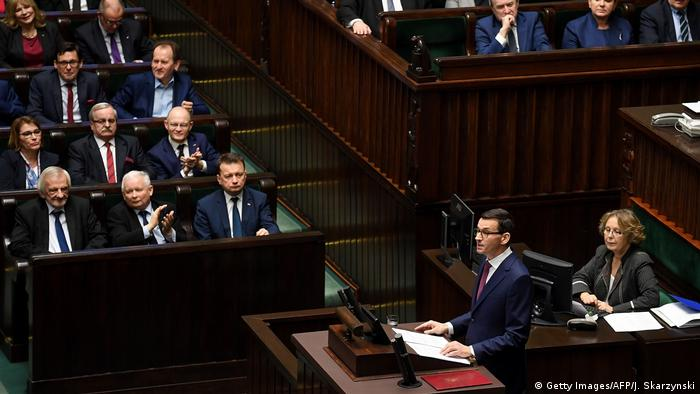 Incoming Polish Prime Minister Mateusz Morawiecki gives a speech to present his program to lawmakers on December 12, 2017