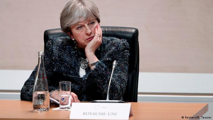 British PM Theresa May at a climate summit in Paris