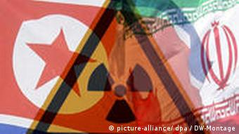 North Korea and Iran flags with atomic symbol