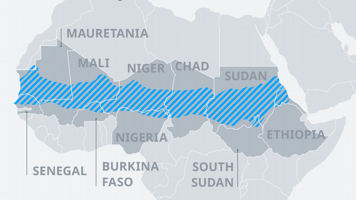 A map of the Sahel region