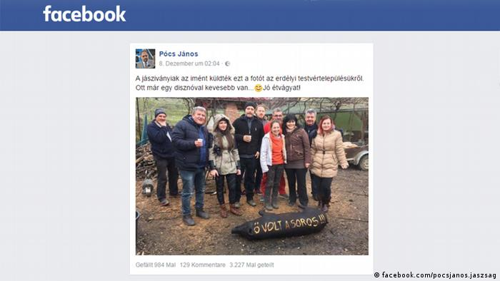 Screenshot from the Facebook page of a right-wing Hungarian politician showing a slaughtered pig, with the words This is George Soros carved into the animal.