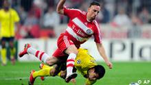 FC Barcelona player Dani Alvez of Brazil, right, duels for the ball with Bayern Munich player Franck Ribery, from France, during their Champions League quarterfinal second leg soccer match between Bayern Munich and FC Barcelona in Munich, southern Germany, on Tuesday, April 14, 2009. (AP Photo/Manu Fernandez) ** Eds note: German spelling of Munich is Muenchen **