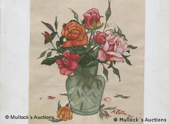 Picture shows a vase with red roses painted by Adolf Hitler