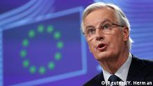 08.12.2017 *** European Union's chief Brexit negotiator Michel Barnier holds a press conference at the European Commission headquarters in Brussels, Belgium December 8, 2017. REUTERS/Yves Herman