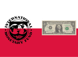 A graphic showing a Polish flag, a dollar bill and the IMF seal