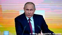 Russian President Vladimir Putin speaks during his annual press conference in Moscow on December 14, 2017. / AFP PHOTO / Alexander NEMENOV (Photo credit should read ALEXANDER NEMENOV/AFP/Getty Images)