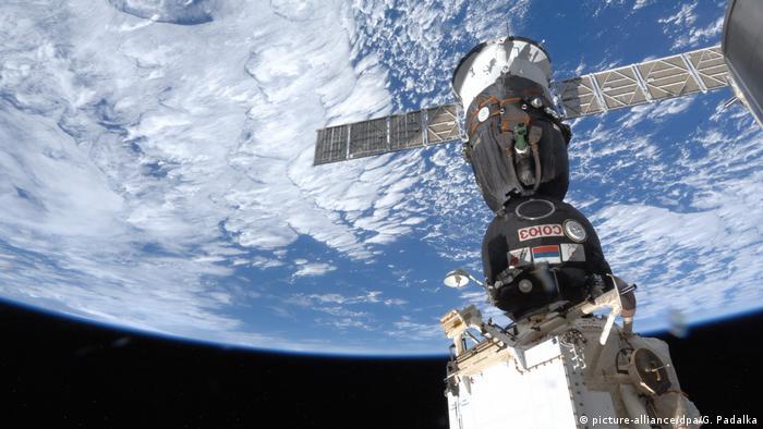 Sojus Raumschiff angedockt an die ISS