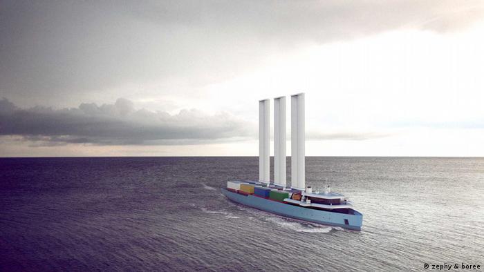 Container-Schiff mit Segeln (zephy & boree)