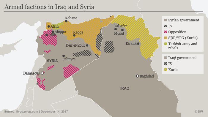 Infografik Streitkräfte Irak Syrien 14. Dezember 2017 ENG
