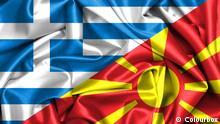 Flaggen von Griechenland und Mazedonien