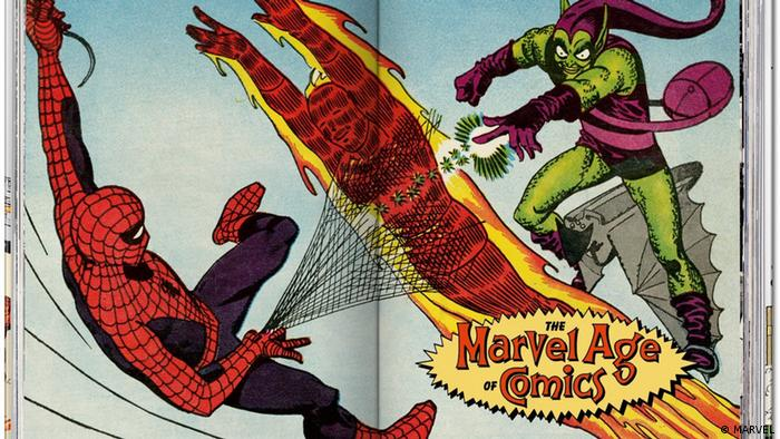 Spiderman, the Human Torch and the Green Goblin in an illustration from the book (MARVEL)