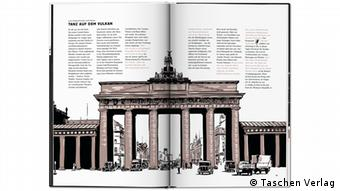 A historical picture of Berlin's Brandenburg Gate in the book on Berlin in the 1920s by Robert Nippoldt and Boris Pofalla. In the left upper corner is written Tanz auf dem Vulkan (Dance on the Volcano) (Taschen Verlag)