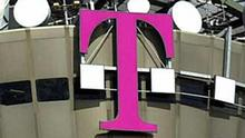 Deutsche Telekom logo atop communications tower, Cologne, Germany