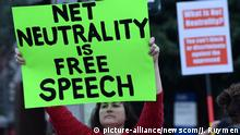 A small group of people rallied to save net neutrality and protest the upcoming FCC vote in December at the Los Angeles Federal Building in the Westwood section of Los Angeles on November 28, 2017. A vote in favor of repealing the 2015 rules could result in internet service providers (ISPs) prioritizing connection speeds, restricting access to certain sites at the ISPs discretion and raising fees for access that otherwise is free. Photo by Jim Ruymen/UPI Photo via Newscom picture alliance |