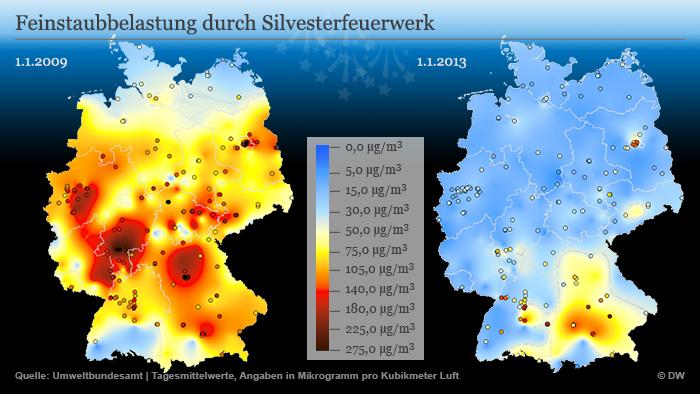 Infografik Feinstaubbelastung durch Silvesterfeuerwerk