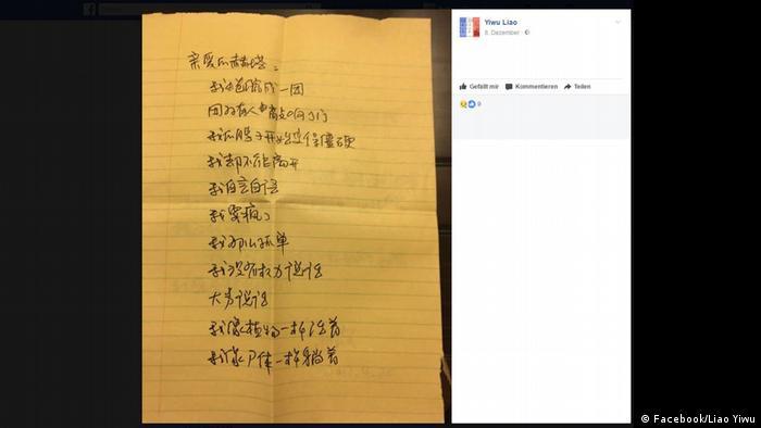 Screenshot Facebook Brief Liu Xia (Facebook/Liao Yiwu)