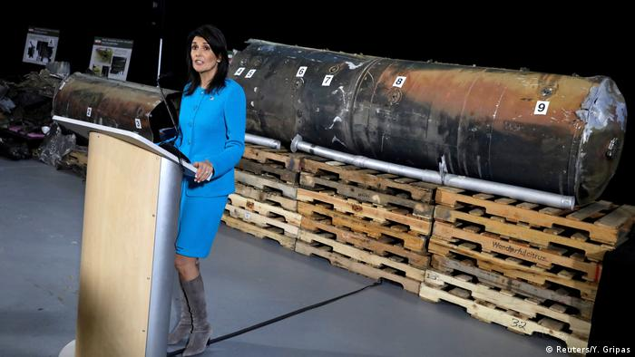 Nikki Haley in front of missile