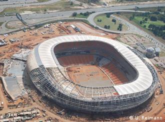 Aerial view of the Johannesburg stadium's incomplete roof