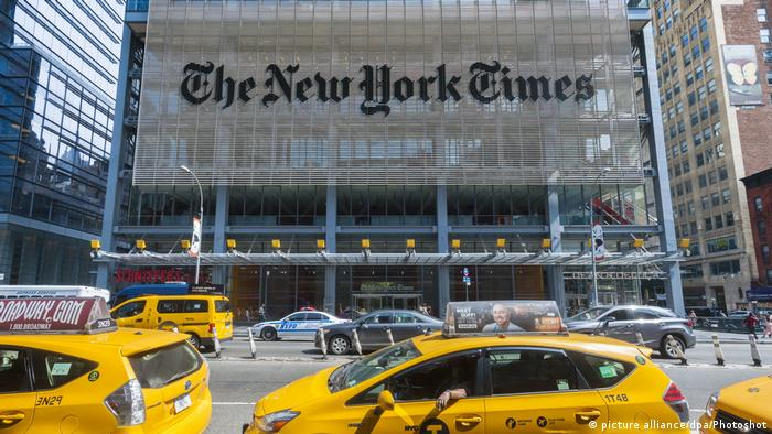The offices of the New York Times media empire in Midtown in New York