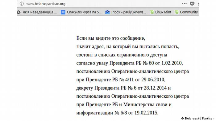Weißrussland Screenshot der gesperreten Internetseite Belorusskij Partisan.